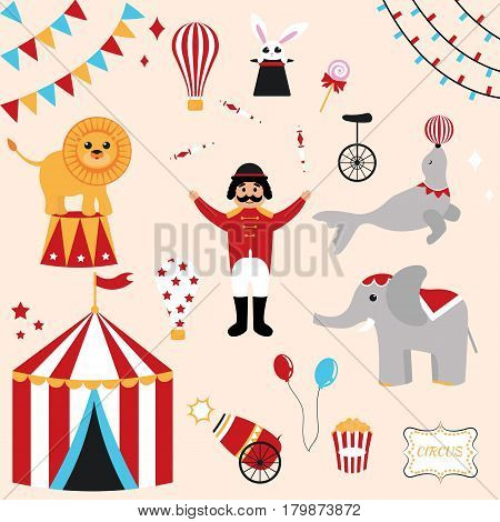 Colorful vector set of circus elements. Lion, rabbit, seal