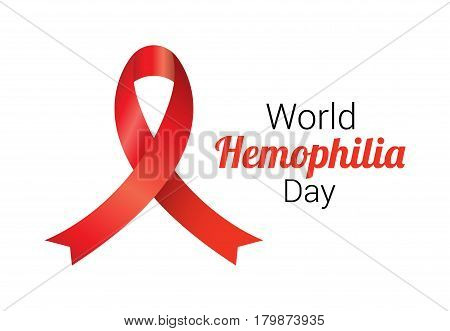 Realistic red ribbon to World Hemophilia Day. Medical sign for 17 april. World hemophilia day awareness campaign ribbon.