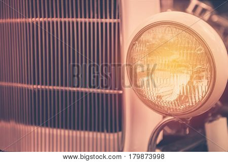 Headlight Lamp Of Retro Classic Car Vintage Style