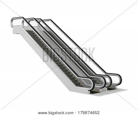 Escalator isolated on white background. 3D render