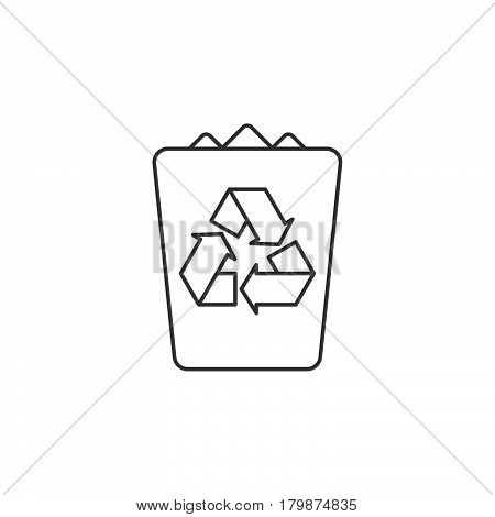 Trash bin thin line icon garbage outline vector logo illustration recycle linear pictogram isolated on white