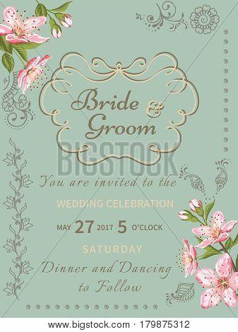 Invitation card of color sacura blossom flowers. Vintage floral invitation for spring or summer bridal shower. Frame card background with mehendi elements. Vector illustration.