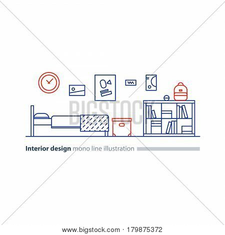 Teenage bedroom interior design, minimalist modern concept, bed room furniture with bookcase, box and posters on wall, vector mono line illustration