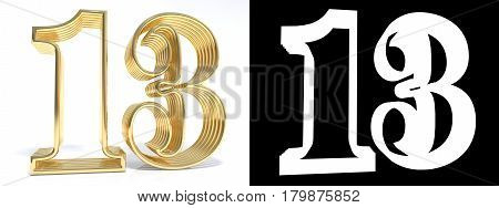 Golden number thirteen on white background with drop shadow and alpha channel. 3D illustration