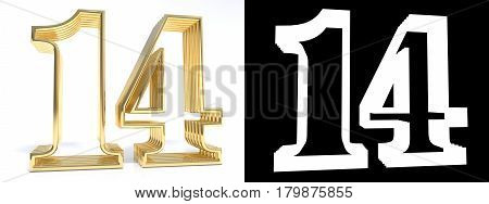Golden number fourteen on white background with drop shadow and alpha channel. 3D illustration