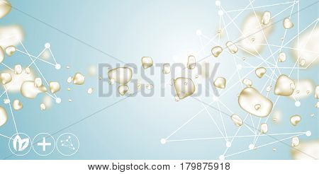 3d model of the molecule, water, drops of gold, collagen solution, serum and essence. Beautiful scientific background, science in cosmetics. Vector realistic illustration