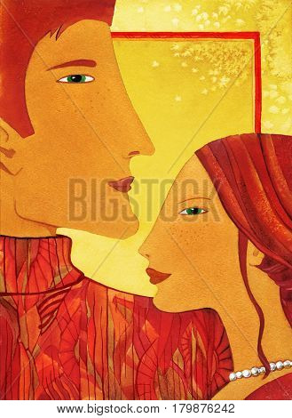 Profile of young man and woman with long hair stylized. Watercolor on a background of stylized leaves