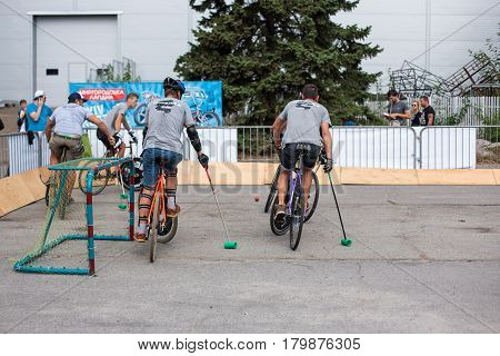 Kyiv city, Ukraine - September 10, 2016 : Football Bikes game, Bicycle soccer with bicycles on international festival of custom culture