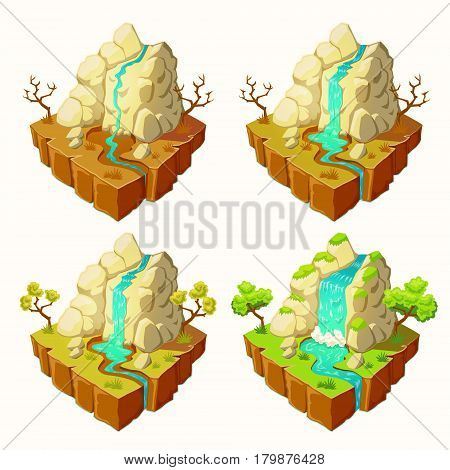 Vector 3D isometric illustrations of an islands with mountains and a waterfall with different levels of water in a river, design elements for games