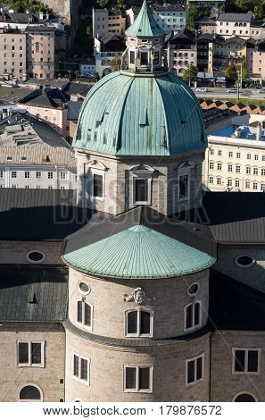 Top view of the old city in center of Salzburg Austria from the walls of the fortress Hohensalzburg Castle