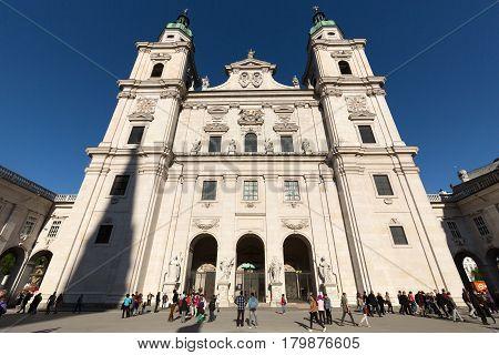 SALZBURG AUSTRIA - APRIL 29 2016: Famous Salzburg Cathedral (Salzburger Dom) at Domplatz Salzburg Land Austria