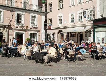 SALZBURG AUSTRIA - APRIL 29 2016: Cafe in the Alter Market in the old town Salzburg Austria