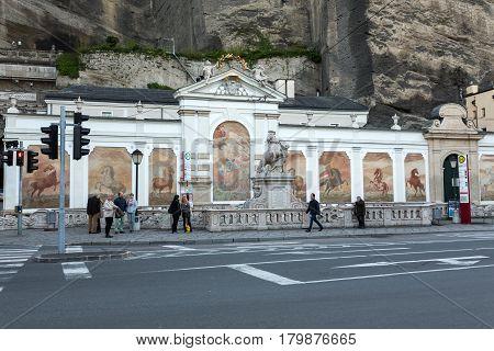 SALZBURG AUSTRIA - APRIL 29 2016: The bath for horses in Salzburg was constructed by the famous Baroque architect Johann Bernhard Fischer von Erlach.Salzburg Austria