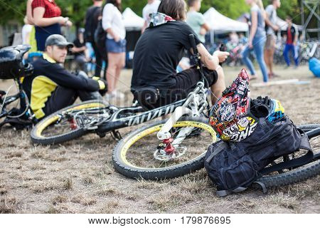 Kyiv city, Ukraine - September 10, 2016 : Game competition, Bicycle festival on international festival of custom culture