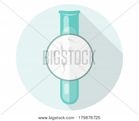 Flask with sperm. Flat illustration, eco, artificial insemination, Children in vitro.