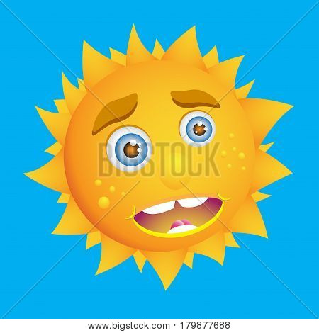 Cute cartoon sun. Kind sunny smile icon. Positive emotions. Sunlight on a sunny day. Vector EPS ,