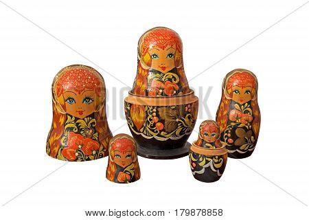 Matryoshka Russian Dolls Isolated on White Background