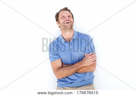 Laughing Man Standing Against White Background