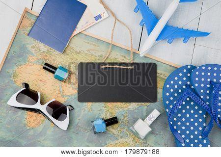Blank Blackboard, Plane, Map, Passport, Money, Flops And Other Accessories