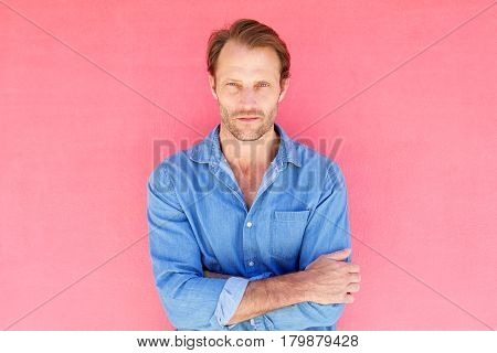 Serious Male Fashion Model With Blue Shirt