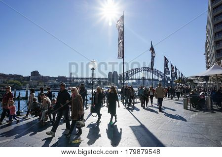 people with family at Darling Harbour on holidays taken in Sydney Australia on 4 July 2016