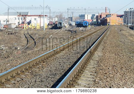 The rails on the railway is a road for trains.Here moving locomotive.