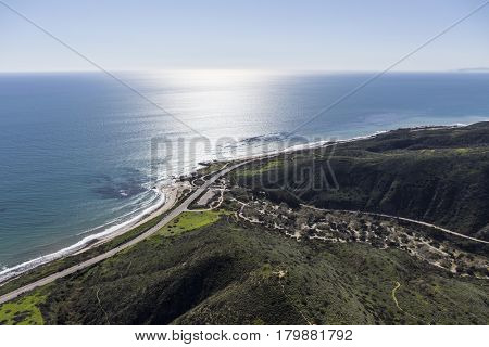 Aerial view of Pacific Coast Highway and Leo Carrillo State Beach near Malibu California.