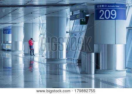 HONGKONG - NOV 20 : Hong Kong International Airport on November 20 2016 in Hong Kong.This airport is main International airport in Hong Kong.It is located on the island of Chek Lap Kok