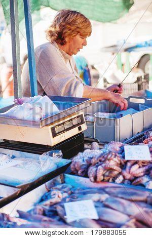 MARSAXLOKK MALTA - February 21 2010. First buyers at Marsaxlokk market. Early winter morning.
