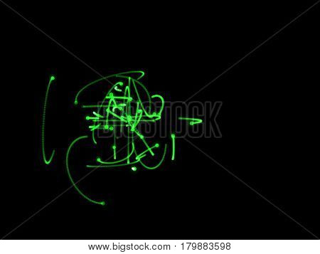 Abstract shape of green motion particles. Isolated on black background. Luminance effect. Digital illustration.