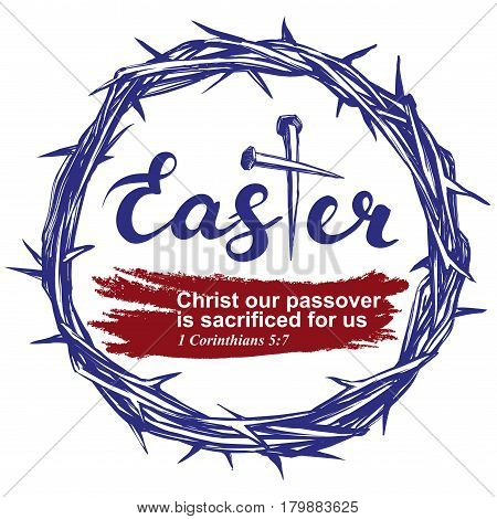 easter holiday, religious symbol of Christianity, crown of thorns, cross, nails hand drawn greetings logo vector illustration icon