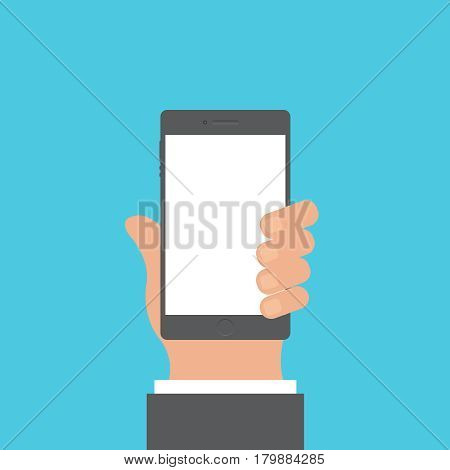 Smartphone and hand vector concept. Phone with hand in modern flat style. Smart technology on blue background. Smartphone with hand sing vector illustration. Smart phone flat icon.
