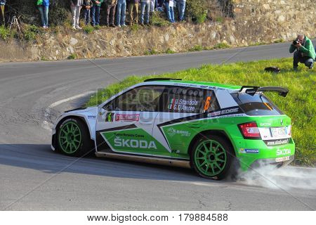 Testico Italy - April 01 2017-64 Di Sanremo Rally: Skoda Fabia conducted by the crew shingle-D'Amore during the second special stage of speed 'timed race, the one from Testico carried to the summit of the Colle D'Oggia.
