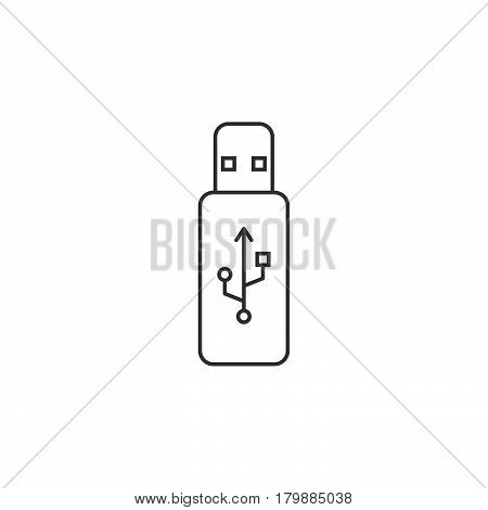 usb stick thin line icon flash memory outline vector logo illustration linear pictogram isolated on white