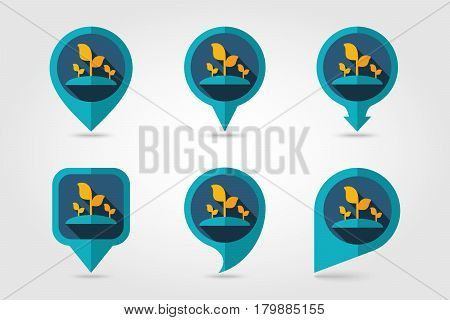Plant sprout flat mapping pin icon with long shadow eps 10
