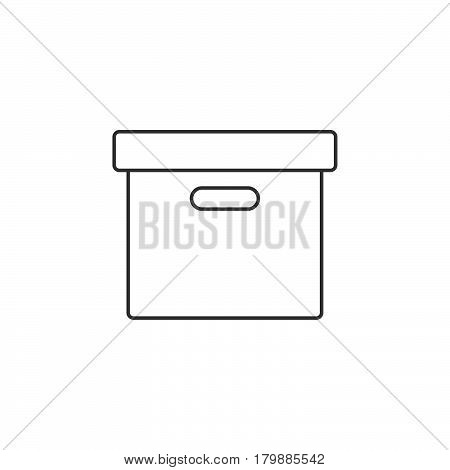 Office File Box thin line icon archive outline vector logo illustration linear pictogram isolated on white