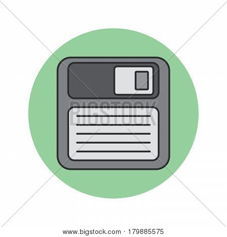 Save thin line icon floppy disk filled outline vector logo illustration linear colorful pictogram isolated on white
