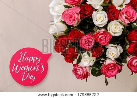 Bouquet of roses background. Happy womens day. Natural flowers. Floral gift. Romantic love design.