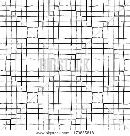 Abstract grunge black squares seamless pattern on white background. Abstract vector backdrop. Freehand texture. Can be used for graphic design patterns packaging clothing printing on surfaces.
