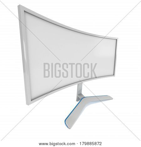 White Curved LCD tv screen. 3d render isolated on white.