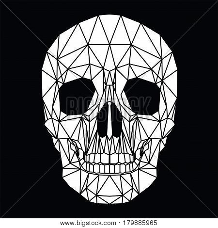 Human skull, cranium, abstract black and white polygonal design, vector illustration