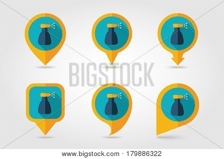 Spray bottle with liquid outline isolated garden atomizer pulverizer sprayer flat pin map icon. Map pointer. Map markers. Garden eps 10