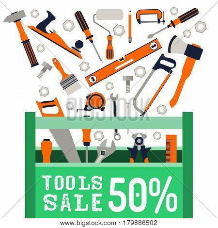 Vector banner with a picture of the tool box and hand tools to repair isolated on a white background. Poster about the beginning of sales of construction tools