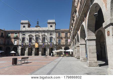 AVILA, SPAIN - JULY 23, 2016: Avila (Castilla y Leon Spain): the historic market square