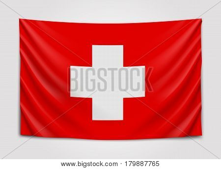 Hanging flag of Switzerland. Swiss Confederation. National flag concept. Vector illustration.