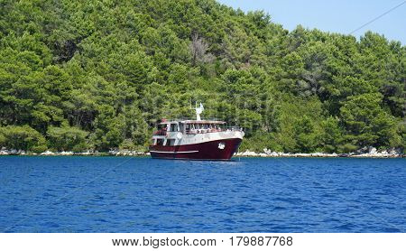 Beautiful view of the seashore from yacht. Traveling, yachting, vacation concept.