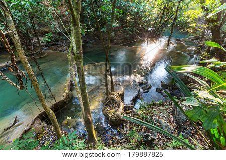 Beautiful waterfall in rainforest, Kanchanaburi province, Southeast asia, Thailand