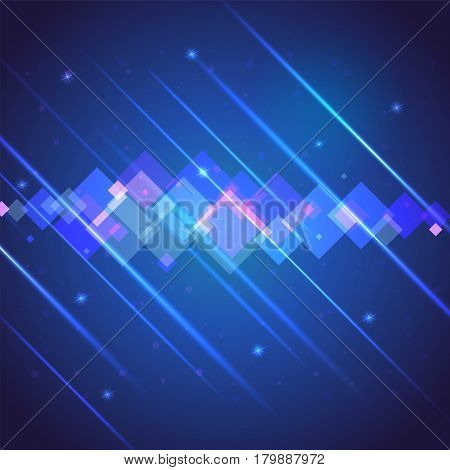 Abstract bright motion background with blurred light rays and lens flare. Dynamic digital, technology backdrop for breaking news or cover. Vector illustration.