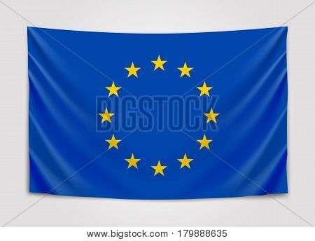 Hanging flag of Europe. European Union. European flag concept. Vector illustration.