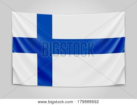 Hanging flag of Finland. Republic of Finland. National flag concept. Vector illustration.